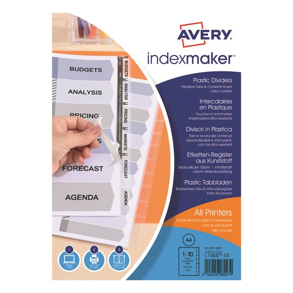 photo about Avery Printable Tabs identify Avery 05113081 IndexMaker Translucent Plastic A4 Dividers