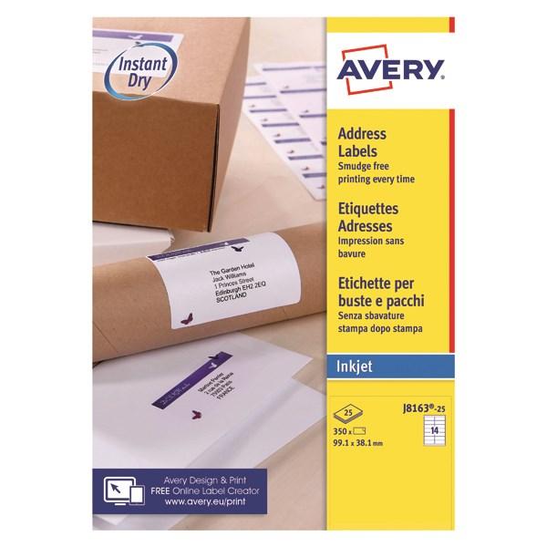 Avery J8163 25 A4 Self Adhesive Address Labels 991 X 381mm 14