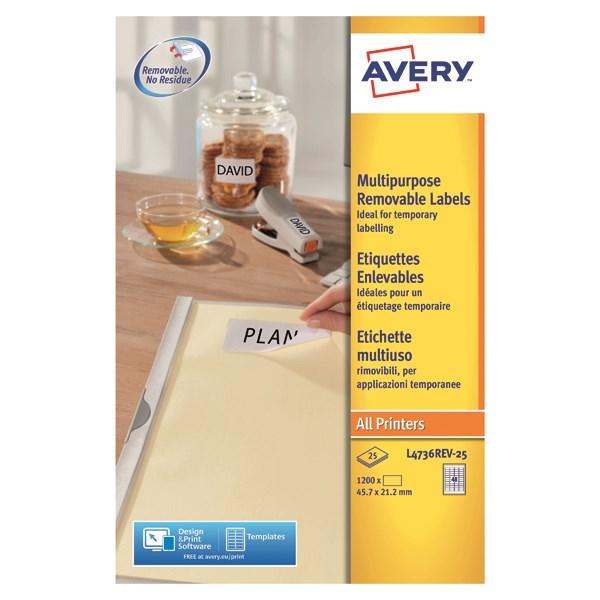 Avery L4736REV-25 Self-Adhesive Removable Mini Labels, 45 7