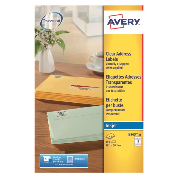 Avery J8563 25 Clear Address Labels 991 X 381mm 14 Labels Per