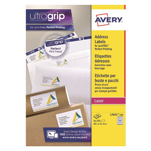 Avery L7651 250 Mini Organisingreturn Address Labels 381 X 212mm