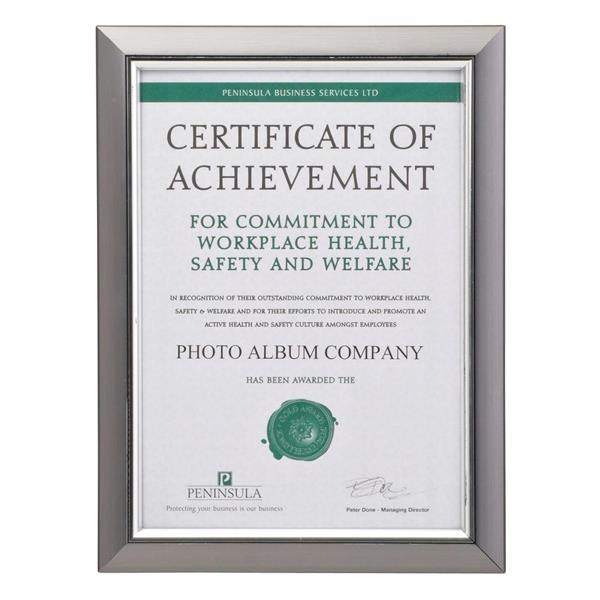 Photo Lab Premium A4 Certificate Frame Silver Inlay PELA4SMK NG