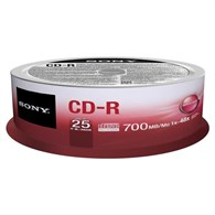 Sony CD-R 700Mb/80minutes Spindle Pack of 25 25CDQ80SP - 968-1583