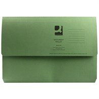 Q-Connect Document Wallet 285gsm Foolscap Green (Please see notes below) - 5380759