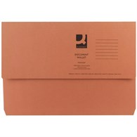 Q-Connect Document Wallet 285gsm Foolscap Orange (Please see notes below) - 7849325
