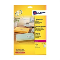 Avery 252 Laser Address Labels Clear 63.5 x 38.1 mm L7560-25 - L7560S